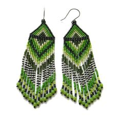 Spring green seed bead earrings beadwork jewelry by Anabel27shop