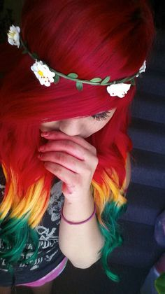 Dyed hair (: Red, yellow, green hair(: Rasta hair c: