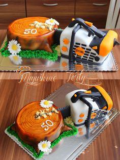 Stihl chainsaw cake :)  #Birthday #cake #Stihl #chain #saw #white #orange #tree #3D