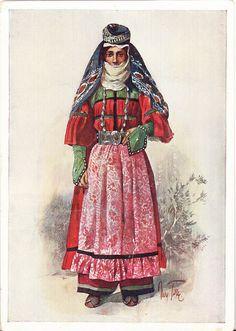 Postcard – Max Tilke – People of the Caucasus Series, 18 - Karapapakh, A Woman from Kars, Turkey
