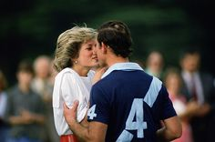 Seemingly in Love Diana kisses Charles after presenting him with a polo prize in Cirencester in 1985.