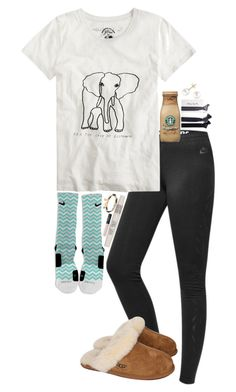 """""""I'm not some stop along the way, I'm a destination"""" by carolinaolr17 ❤ liked on Polyvore featuring NIKE, J.Crew, UGG Australia, Miadora, Topshop, Shashi and NARS Cosmetics"""