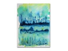 Abstract Landscape watercolor study in teal original 9x12 fine art painting green blue aqua peaceful scene modern wall decor on sale now on Etsy, £39.80