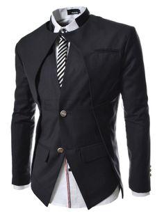 ::::Theleesshop:::: All mens slim & luxury items Slim fit Double Collar 2 Button Blazer Jacket
