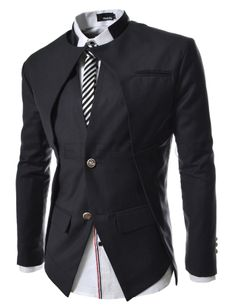 ::::Theleesshop:::: All mens slim & luxury items Slim fit Double Collar 2 Button Blazer Jacket