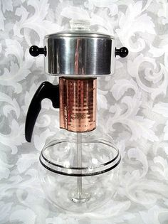 Sold VINTAGE PYLEX STOVE TOP 6 CUP COFFEE MAKER PERCOLATOR