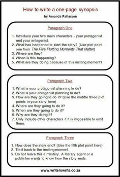How to write a one-page synopsis by Amanda Patterson I've never met a writer who enjoyed writing a synopsis. I created this simple formula to help writers create a one-page synopsis. Please refer to my post on The Five Plotting Moments That Matter. Fiction Writing, Writing Advice, Writing Resources, Writing Help, Writing Skills, Writing A Book, Writing Prompts, Writing Images, Writing Contests