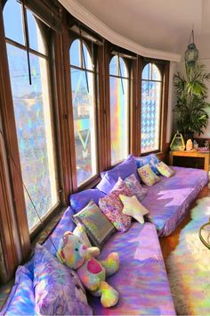 Magical Rainbow Sanctuary by the Beach in San Francisco This Magical Rainbow Sanctuary located in Ocean Beach, San Francisco is a whimsical haven to connect, relax, rejuvenate and bask in glo SEE DETAILS. Dream Rooms, Dream Bedroom, Magical Bedroom, Magical Home, My New Room, My Room, Rainbow House, Neon Room, Chill Room
