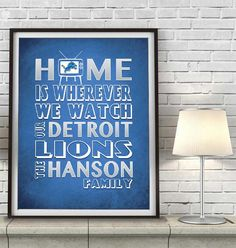 "Detroit Lions football Inspired Personalized & Customized ART PRINT- ""Home Is"" Parody Retro Unframed Print"