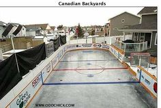 Backyard Ice Rinks: All the detailed and essential information you need on how to build your own backyard ice rink. Tips and plans for building a backyard skating rink. Plus backyard hockey rink designs and more. Outdoor Hockey Rink, Backyard Hockey Rink, Backyard Ice Rink, Backyard Playground, Ice Hockey Rink, Nice Backyard, Playground Ideas, Backyard Patio, Hockey Room