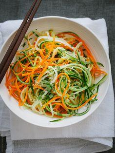Asian Cucumber Carrot Slaw | www.kitchenconfidante.com