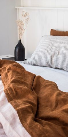 Linen bedroom - Rich and earthy, we love our Ochre French linen sheets Beautifully soft, they are a dream to sleep in Dream Bedroom, Home Bedroom, Bedroom Decor, Linen Bedroom, Ochre Bedroom, Earthy Bedroom, Decorating Bedrooms, Linen Bedding, Bedroom Inspo
