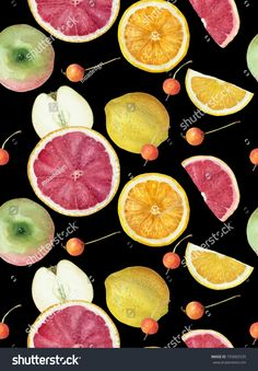 Watercolor citrus seamless pattern on black background