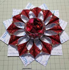 Pretty table wreath I made. Fold n stitch wreath