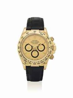 ROLEX. A FINE 18K GOLD AUTOMATIC CHRONOGRAPH WRISTWATCH WITH CHAMPAGNE DIAL