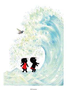 Aan zee - Mooie prent van Jip en Janneke voor op de kinderkamer. De prent is gedrukt op stevig papier, dus kan op een plankje worden neergezet. Inlijsten of met tape ophangen aan de wand kan natuurlijk ook. Afmeting: 18 x 24cm Materiaal: 300 grams papier