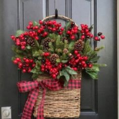 Christmas Wreaths NEW Holiday Wreaths and Baskets, Holiday Decor with Buffalo Pattern Ribbon NEW 2018 Christmas Wreaths Holiday Decor Christmas Berry Christmas Arrangements, Outdoor Christmas Decorations, Christmas Centerpieces, Noel Christmas, Rustic Christmas, Christmas Crafts, Christmas Ornaments, Christmas Movies, Christmas Berries