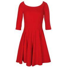 SOLID COLOR 3/4 SLEEVE SPOON NECK SKATER DRESS RED/BLACK/BEIGE