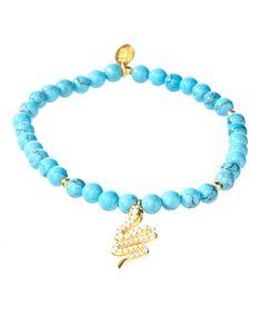 Love this Goldtone & Turquoise Snake Stretch Bracelet on #zulily! #zulilyfinds