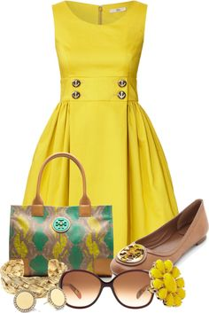 Yellow dress and nude flats. Perfect summer outfit for work. I would add a white cardigan. Look Fashion, Womens Fashion, Fashion Trends, Club Fashion, 1950s Fashion, Frack, Komplette Outfits, Mode Vintage, Fashion Gallery