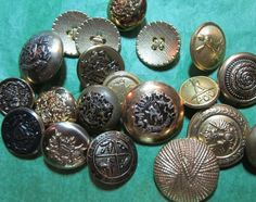 """20 - 3/4""""+ GOLD TONE METAL SHANK BUTTONS - ASSORTED LOT#626"""
