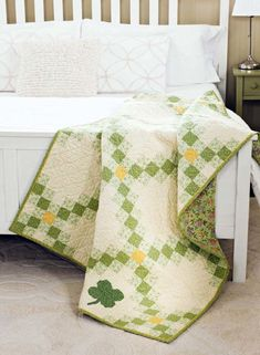We love the soft green and butter-yellow prints in this traditional Irish Chain quilt! Dublin Town, by Deb Finan, was featured on episode 3012 of Fons & Porter's Love of Quilting TV show.
