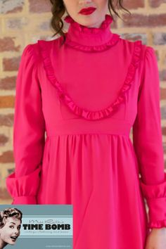 Vintage 1970s Hot Pink Formal Mod Folk Hippie by missruthstimebomb, $36.00
