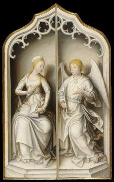 Jean Bellegambe (Netherlandish, ca. 1480-1534/1536) | Annunciation, Douai, France, ca.1515-1520, oil on panel, 95.8×57.2cm.