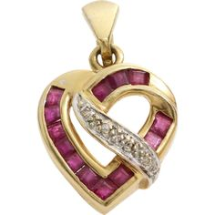 GryphonNest/posts Ruby and Diamond Heart Pendant