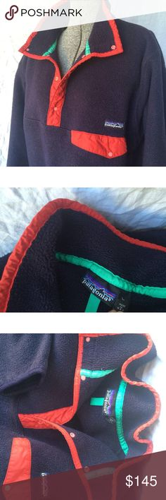 Vintage Patagonia fleece pullover snap LARGE Good vintage condition. Common wear. No damage. Size large. Navy body. Red / turquoise trim. Assuming it's a men's large. patagonia Jackets & Coats