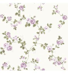 Papel pintado flores vintage pequeñas violetas fondo claro -