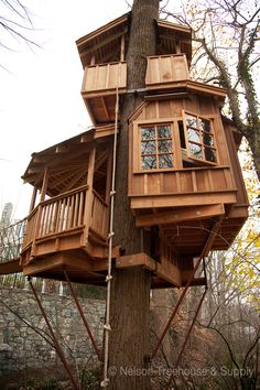 Birds Tree House With Balconies And Windows. . .You Must Be Kidding, Right?..... Nelson Treehouse And Supply: Portfolio of Residential Treehouses