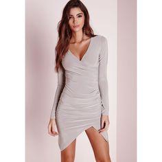 Missguided Slinky Wrap Dress (€40) ❤ liked on Polyvore featuring dresses, grey, draped dress, draped wrap dress, gray wrap dress, draped cocktail dress and missguided dress