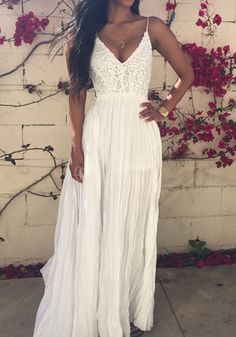 White Plain Lace Draped V-neck Maxi Dress