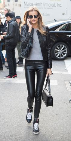 No surprise, but the Victoria's Secret models have spectacular off-duty style. Click to see the uniforms they wear, including skinny black pants and leather jackets