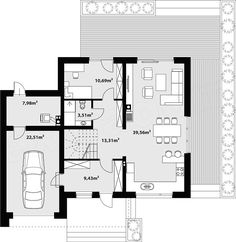 Rzut parteru projektu Nowik Modern House Floor Plans, House Plans, Deco, Sweet Home, House Design, Flooring, How To Plan, Room, Future