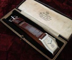 Men's 1928 Glycine Wristwatch in 14k White Gold | Strickland Vintage Watches