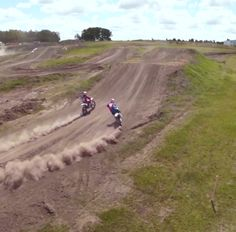 Motorcross bikes kicking up mighty dust.  Photo taken by Quadcopter
