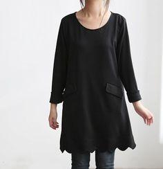 Simple Pleasures/ Black tunic Bottoming shirt dress. $70.00, via Etsy.