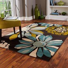 Indoor Teal/ Ivory Area Rug | Overstock.com Shopping - The Best Deals on 7x9 - 10x14 Rugs
