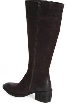 """born """"poly"""" riding boot. color is """"prugna"""" a dark purple/prune. 15"""" shaft, 15"""" calf in regular (wide calf 16+"""" but not avail in this color?) nice rubber traction soles, zips up both sides, brogue styling (perforations)"""