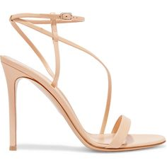 Heel measures approximately 4 inches Beige leather Buckle-fastening ankle strap Designer color: Nude Made in ItalySmall to size. See Size & Fit notes. Beige High Heels, Beige Shoes, Ankle Strap High Heels, Monk Strap Shoes, Ankle Wrap Sandals, Strappy Sandals Heels, Leather Sandals, Strap Sandals, Women Sandals
