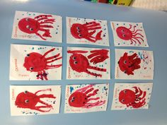 Octopus craft - get a circle stencil for the kids to paint over. Then have them use a paint brush for the tentacles. Preschool Crafts, Crafts For Kids, Arts And Crafts, Octopus Crafts, Handprint Art, Ocean Themes, Beach Crafts, Science Art, Tentacle