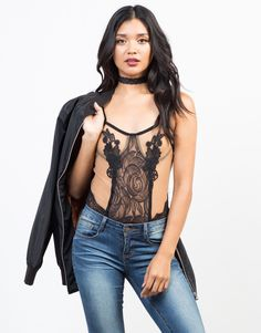 Channel your inner girly and fun side with this black Romantic Lacey Bodysuit. This bodysuit is made from a sheer lace and mesh fabric. Pair this bodysuit with a high waisted skirt and strappy heels for a night out in town!