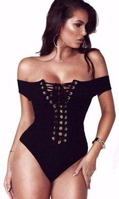94eb9cf01e Lillian Lace Up Bodysuit One Piece Bodysuit