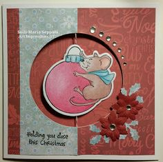 Art Impressions Rubber Stamps: Ai Spinners: 4693 – Mouse Spinner Dies 4674 – Mouse Spinner ... handmade card. ornament, poinsettia, holly leaves