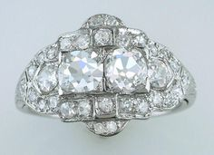 Vintage Antique Rare Double Diamond 2.07ct GIA Platinum Art Deco Engagement Ring