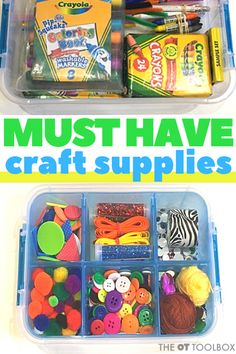 Wondering what kids craft supplies you need to help kids build skills? Use these therapist-recommended craft items in therapy or DIY craft kits. Kids Craft Supplies, Craft Kits For Kids, Craft Activities For Kids, Crafts For Kids, Therapy Activities, Quick Crafts, Craft Stick Crafts, Diy Crafts, Art Therapy Children