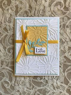 Sunflower Cards, Scrapbooking, Stampinup, Embossed Cards, Stamping Up Cards, Fall Cards, Love Cards, Paper Cards, Creative Cards