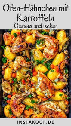 Oven-fried chicken with potatoes and colorful vegetables is a delicious and simple one-pot dish. Crispy and healthy chicken that is gently cooked in the oven together with fresh vegetables and potatoe Pork Stew Meat, Stew Meat Recipes, Meat Recipes For Dinner, Easy Meat Recipes, Healthy Chicken Recipes, Vegetarian Recipes, Easy Meals, Plat Simple, Childrens Meals